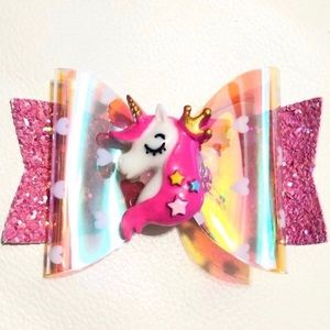 PINK UNICORN GLITTER GIRLS HAIR CLIP BOW